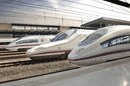 Spain the AVEs High Speed Trains lined up