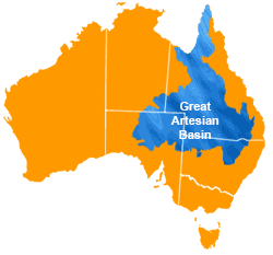 Australia the Great Artesian Basin covers a third of the country