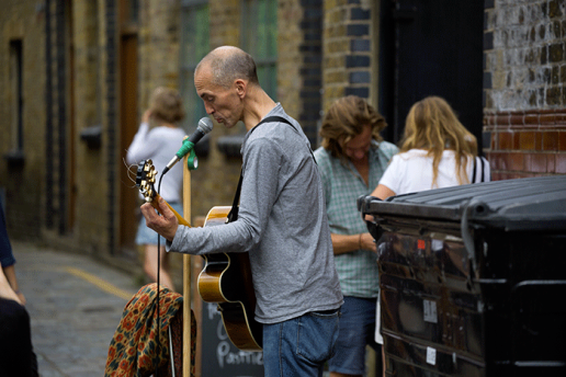 London Busking in London, earning a buck - image Shane Aurousseau